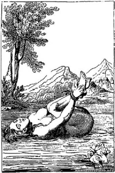На гравюре видно, что испытываемых «женщин» якобы опускали в воду попарно. «Ведьма» всплывала, а честная тонула