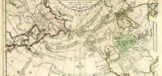 Карта мира французского картографа Филиппа Буше, 1753 г.