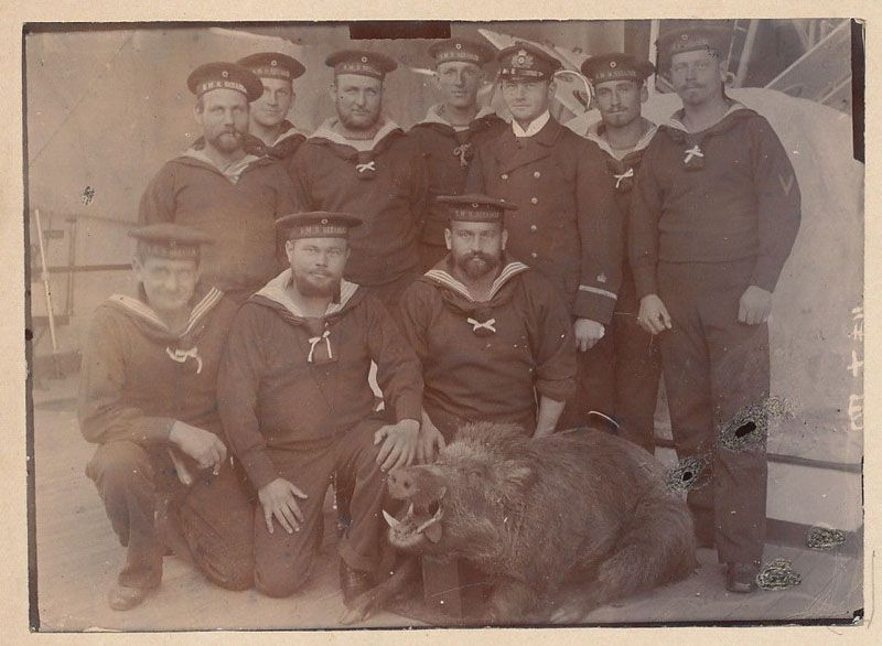 Команда «Зееадлера» с четвероногим пленником