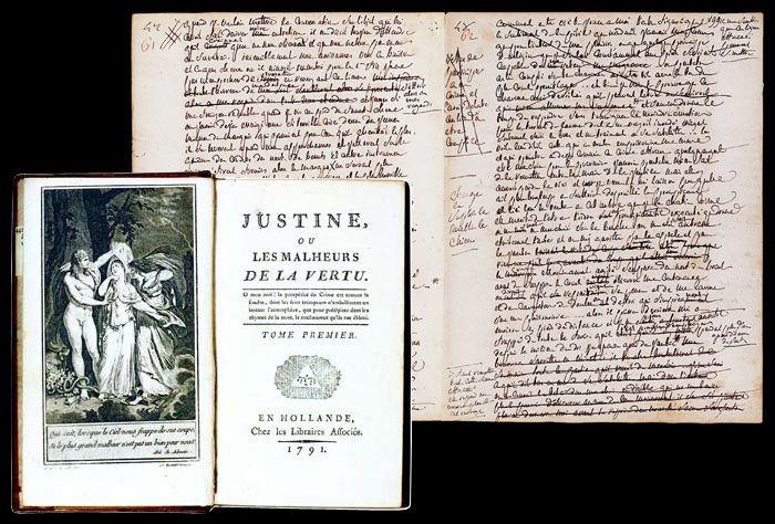 Рукопись Маркиза Де Сада и прежизненное издание его книги.