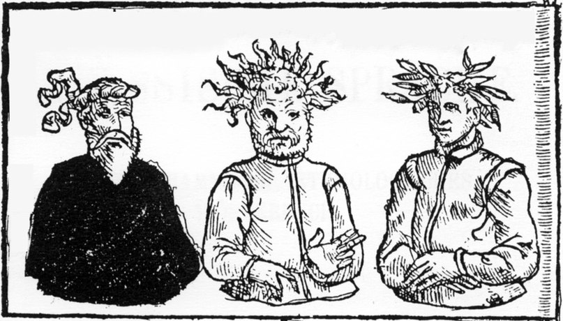 Древние прусские божества Patolos, Perkunos и Potrimpos (слева направо)