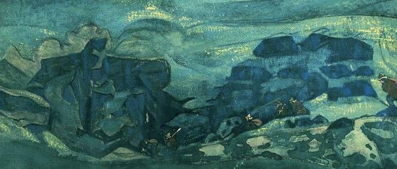 Картина Н.К.Рериха. Чудь подземная (Чудь под землю ушла) (фрагмент) 1913 год