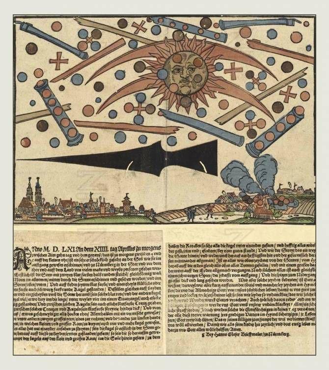 Гравюра Ганса Глазера, иллюстрация событий, произошедших в Нюрнберге, Германия,14 апреля 1561 г. Фото: Wikimedia Commons