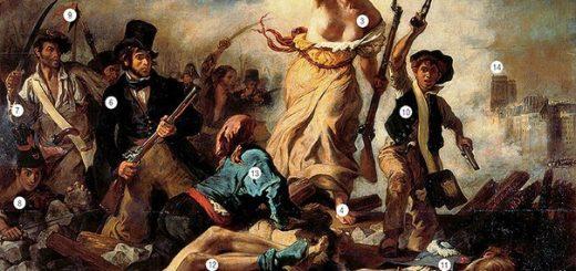 """""""Свобода на баррикадах"""" Делакруаерти которого та вышла на баррикады. То, что труп раздет мародерами, указывает на низменные страсти толпы, которые вырываются на поверхность во времена социальных потрясений. 13 ФИГУРА УМИРАЮЩЕГО революционера символизирует готовность парижан, вышедших на баррикады, отдать жизни за свободу. 14 ТРИКОЛОР над собором Нотр-Дам. Флаг над храмом еще один символ свободы. Во время революции колокола храма вызванивали «Марсельезу»."""