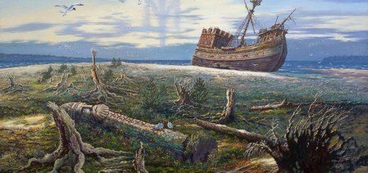 картина: корабль на суше