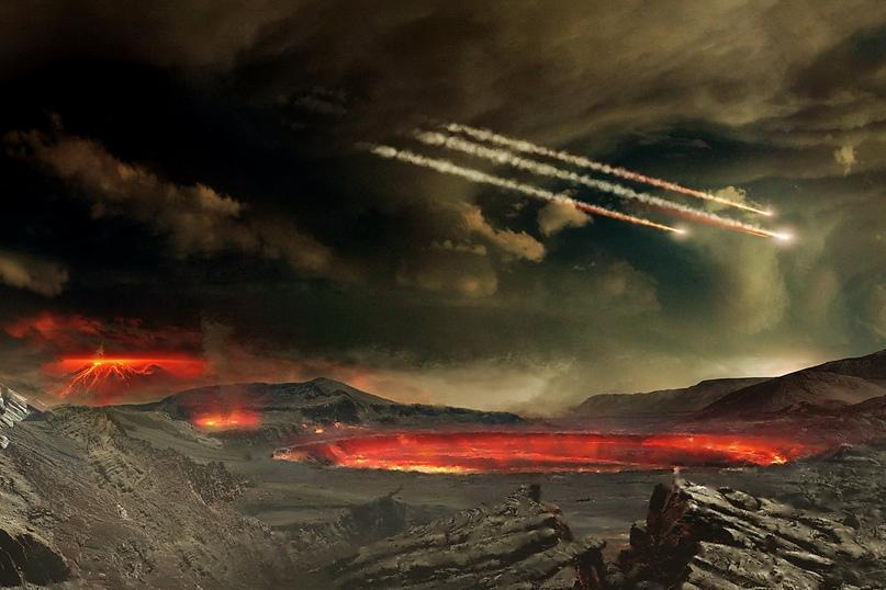 Художественное представление бомбардировки молодой Земли астероидами, которые, возможно, занесли все необходимые для зарождения жизни ингредиенты.