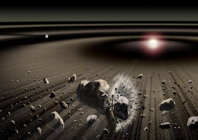 Столкновения в молодой Солнечной системе.