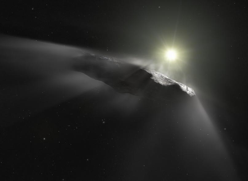 Художественное представление Оумуамуа, первого открытого межзвездного объекта в Солнечной системе.