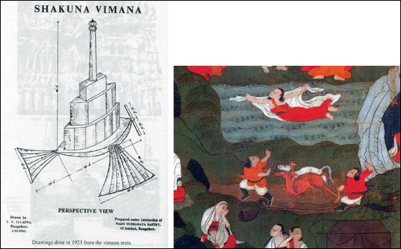Один из древних летательных и Тибетский махасиддха Миларепа в полёте