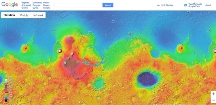 Карта Марса от NASA и Google выглядит так