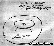 Набросок яйцевидного объекта, сделанный очевидцем