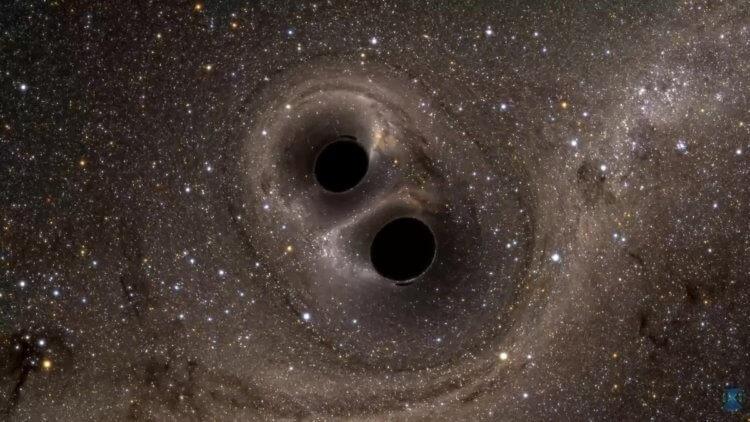Так выглядит столкновение двух сверхмассивных черных дыр