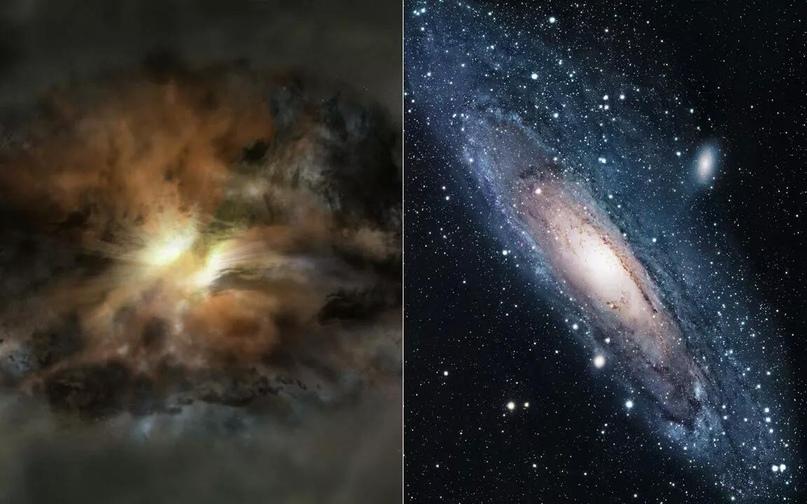 Галактики-каннибалы. Слева — W2246-0526, справа — галактика Андромеды