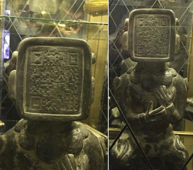 Qr-код на лице древней статуи майя