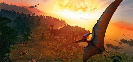 Падение астероида, положившего конец эпохе динозавров, в представлении художника.
