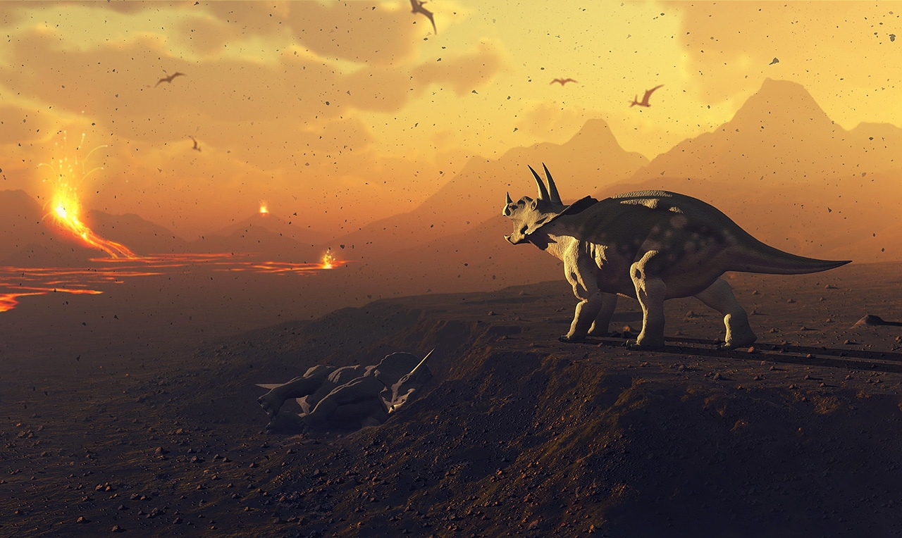 Вулканическая активность, возможно, спровоцировавшая мел-палеогеновое вымирание, в представлении художника. Гипотеза не нашла поддержки при анализе изотопов бора в известковых оболочках фораминифер.