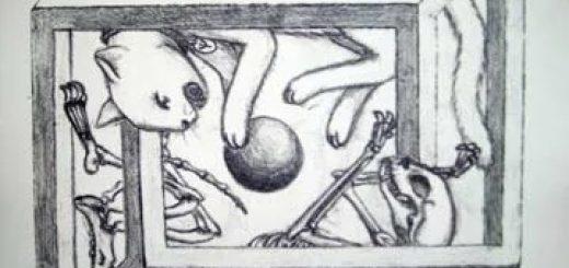 Визуализация мысленного эксперимента с котом Шредингера.