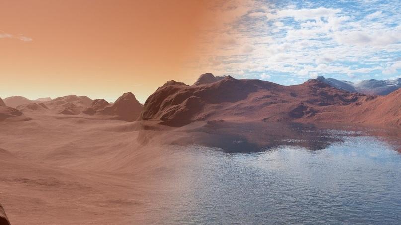Художественное сравнение современного (слева) и древнего (справа) Марса.