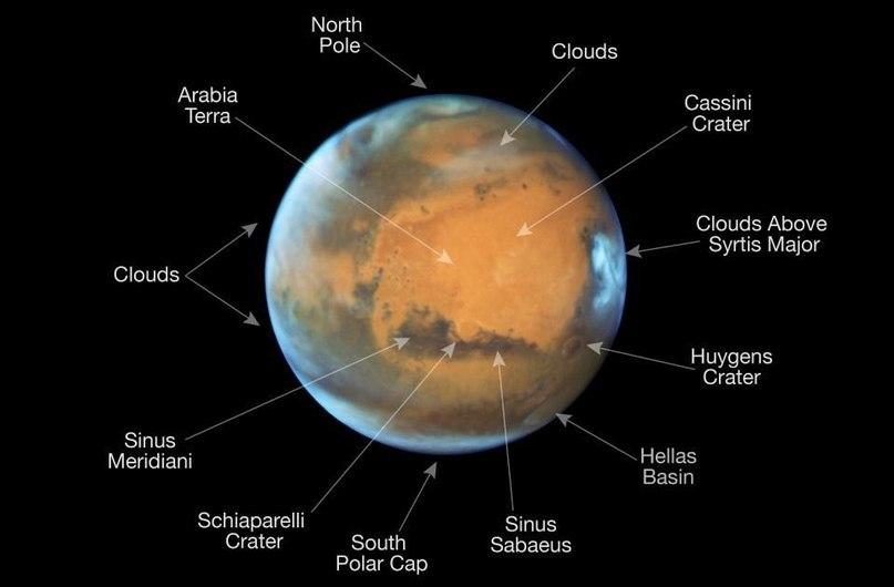 Снимки Марса с Хаббла, в особенности участки с облаками и льдом, демонстрируют голубой цвет этой части мира, что говорит о размере частиц льда в атмосфере Марса.