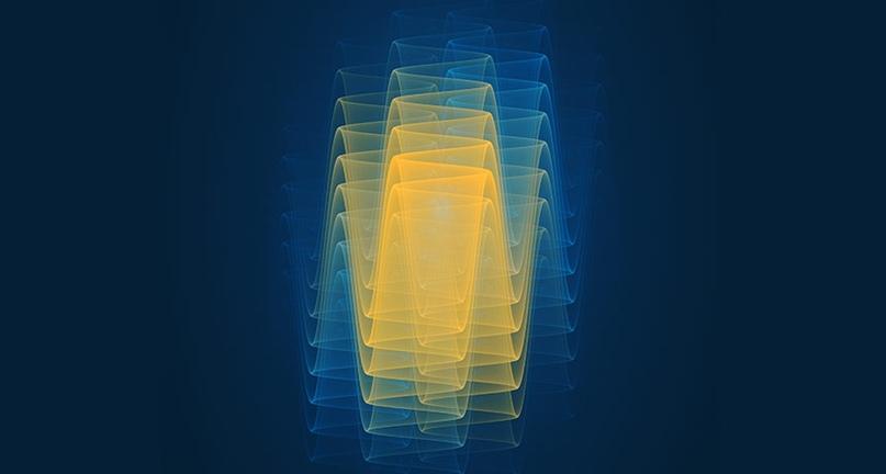 Квантовая волновая функция в представлении художника. Волновая функция - это ключевое математическое выражение, описывающее квантовомеханические физические системы. Вплоть до проведения измерения или наблюдения частица находится в состоянии суперпозиции, не имея конкретной позиции или формы / © Adam Becker