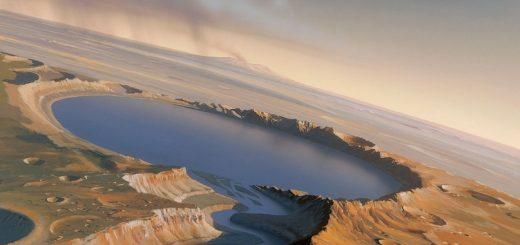Озеро на Марсе в представлении художника