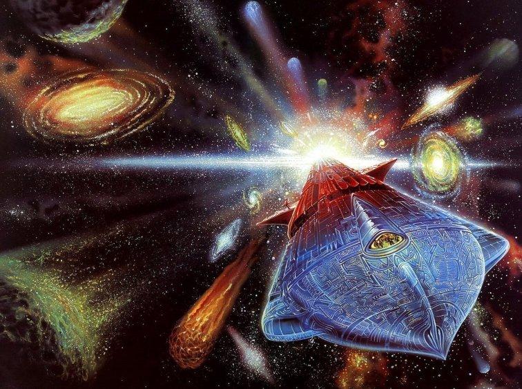 Космический корабль «Леонора Кристина» с бассердовским двигателем на обложке романа Пола Андерсона «Тау ноль»