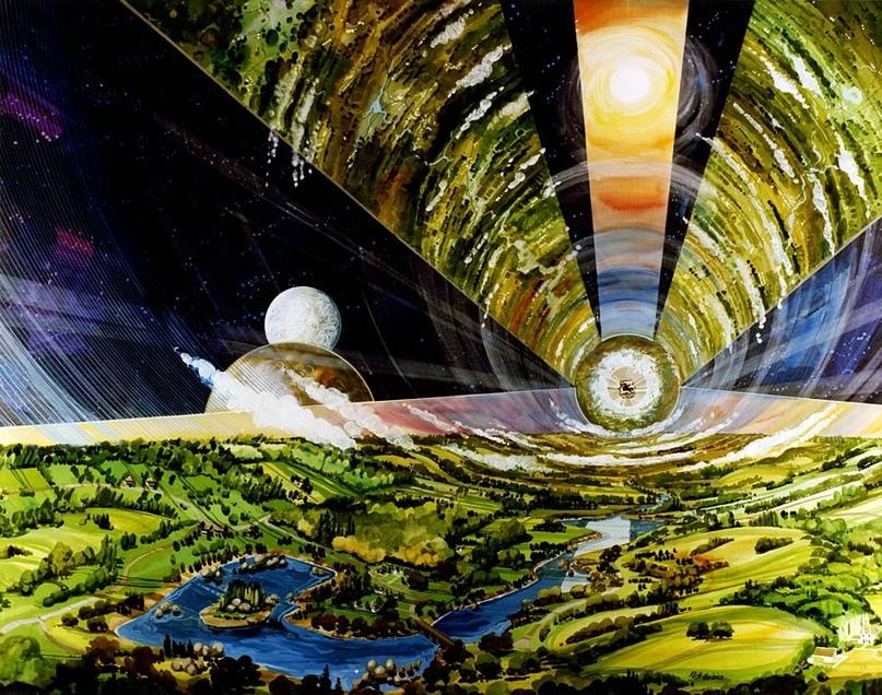 Эскиз Рика Гвидича как мог бы выглядеть цилиндр О' Нилла изнутри. Источник изображения: space.nss.org