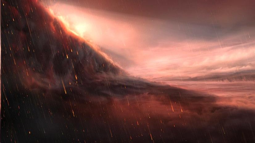 Граница дневной и ночной сторон экзопланеты WASP-76b в представлении художника