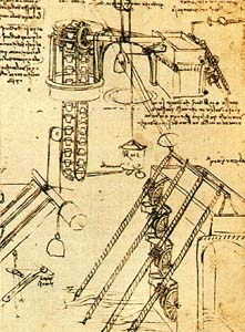 водяное колесо с чашами Леонардо да Винчими