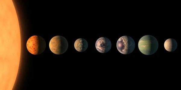 Планеты системы TRAPPIST-1 в представлении художника. В этой системе целых четыре планеты потенциально могут иметь условия пригодные для водно-углеродной жизни.