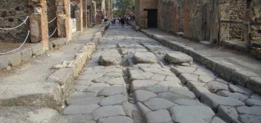 римские дороги с камнями посередине