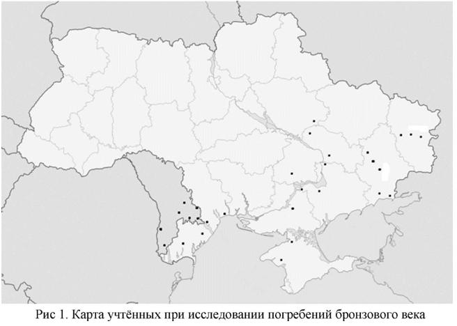 Карта учтенных при исследовании погребений бронзового века